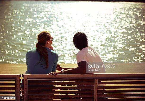 Man and woman enjoying sunshine in Barcelona, Spain