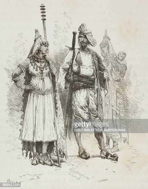 Man and woman from Banjari people engraving from India travel in Central India and Bengal by Louis Rousselet