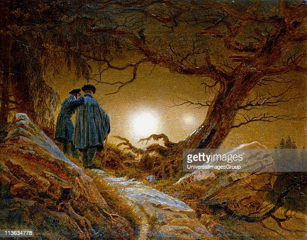 Man and Woman Gazing at the Moon by Caspar David Friedrich German Romantic painter