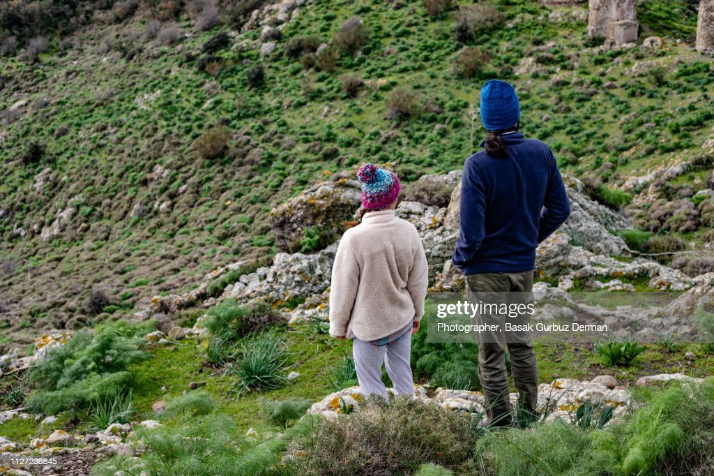 Man and Woman Hiking in Nature : Stock Photo