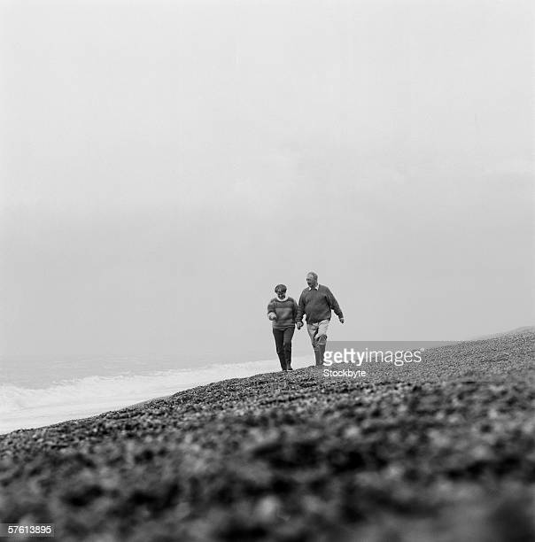Couple At The Beach Stock Image Image Of Caucasian: World's Best Mature Couples Vacation Black And White Stock