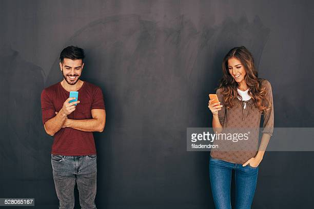 Man and Woman in Social Network Concept