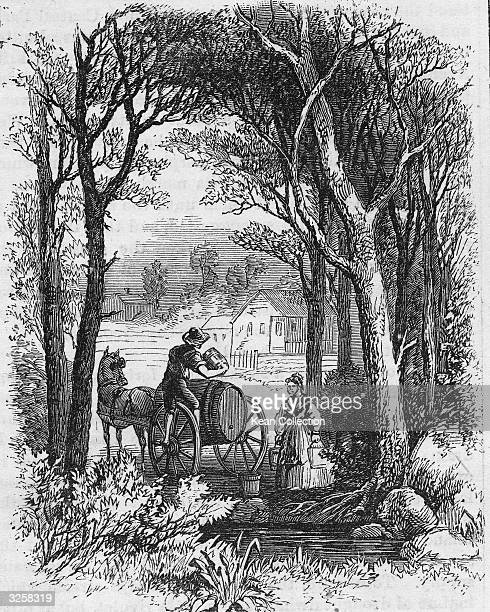 A man and woman load water from a spring into a barrel mounted on a horsedrawn wagon New York New York 1700s Original caption reads 'New York's...