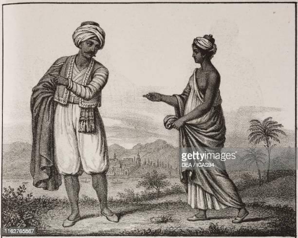 Man and woman of Algiers Algeria Africa lithograph from Galleria universale di tutti i popoli del mondo ossia storia dei costumi religioni riti...