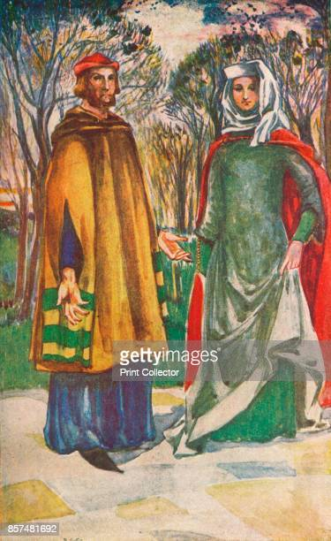 A Man and Woman of The Time of Edward I' 1907 From English Costume painted and described by Dion Clayton Calthrop [Adam Charles Black London 1907]...