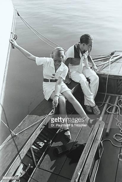 Man and woman on a sailing ship