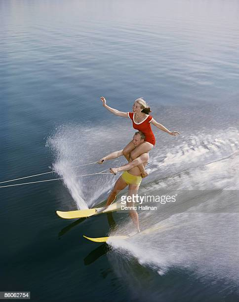 Man and Woman Perform Water-ski Formation