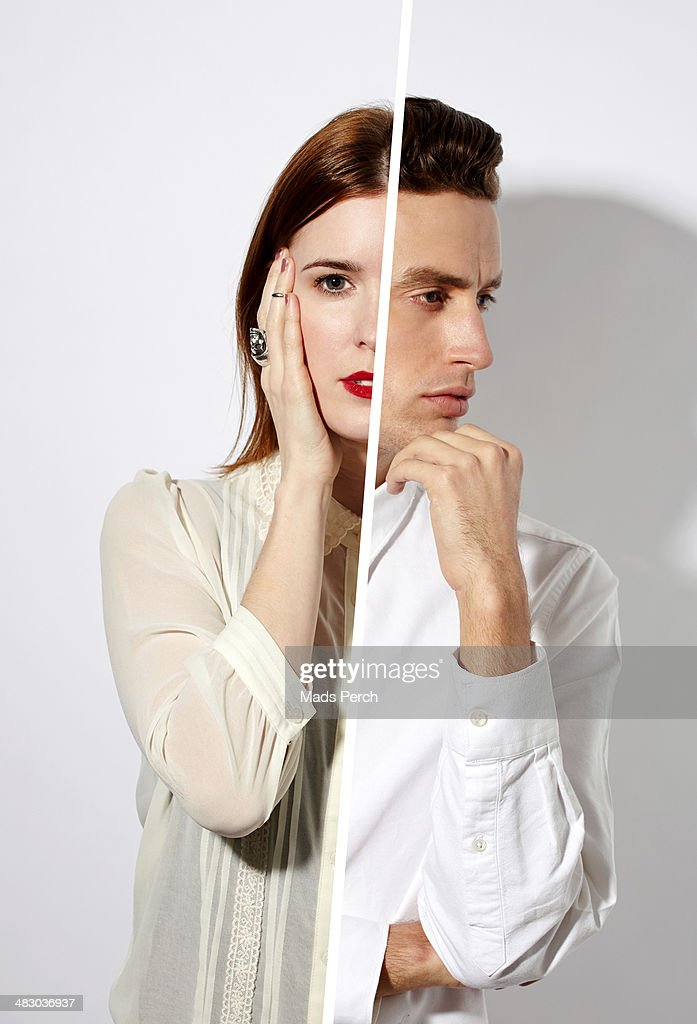 man and woman reflected in a mirror : Stock Photo