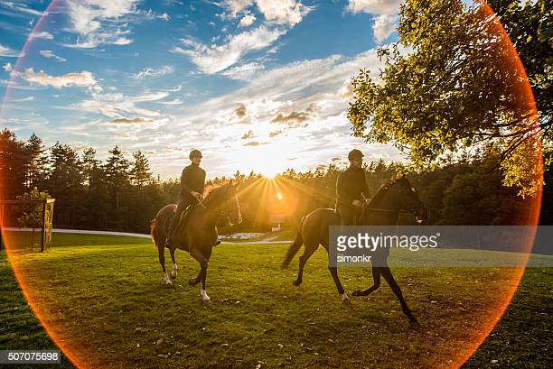 man and woman riding horse - riding boot stock pictures, royalty-free photos & images