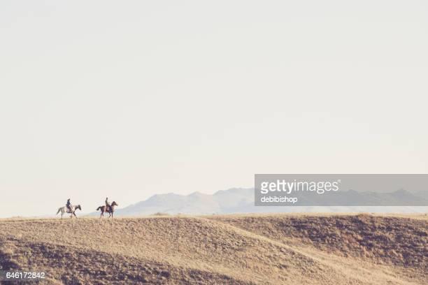 homem e mulher, montando a cavalo através de uma paisagem de montana - cavalo família do cavalo - fotografias e filmes do acervo