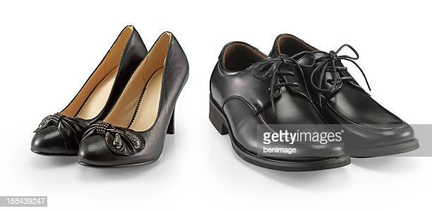 man and woman shoe - leather boot stock pictures, royalty-free photos & images