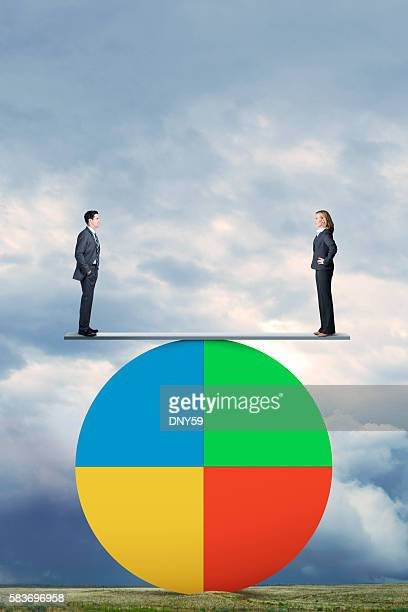 Man And Woman Stand On Seesaw On Pie Chart