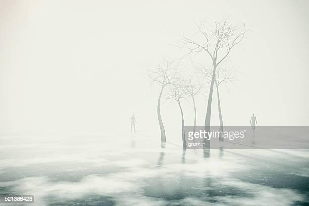 Uomo e donna che cammina nel paesaggio invernale fantasia