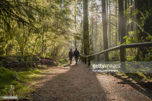 man and woman walking on forest trail, british columbia, canada - footpath stock pictures, royalty-free photos & images