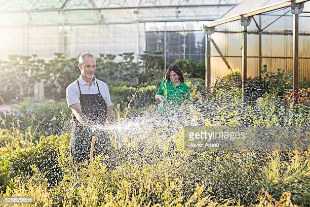Man and woman watering plants at garden center