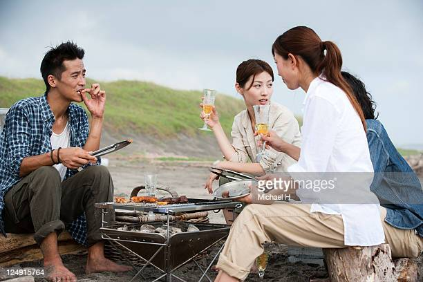 Man and woman who are having the barbecue