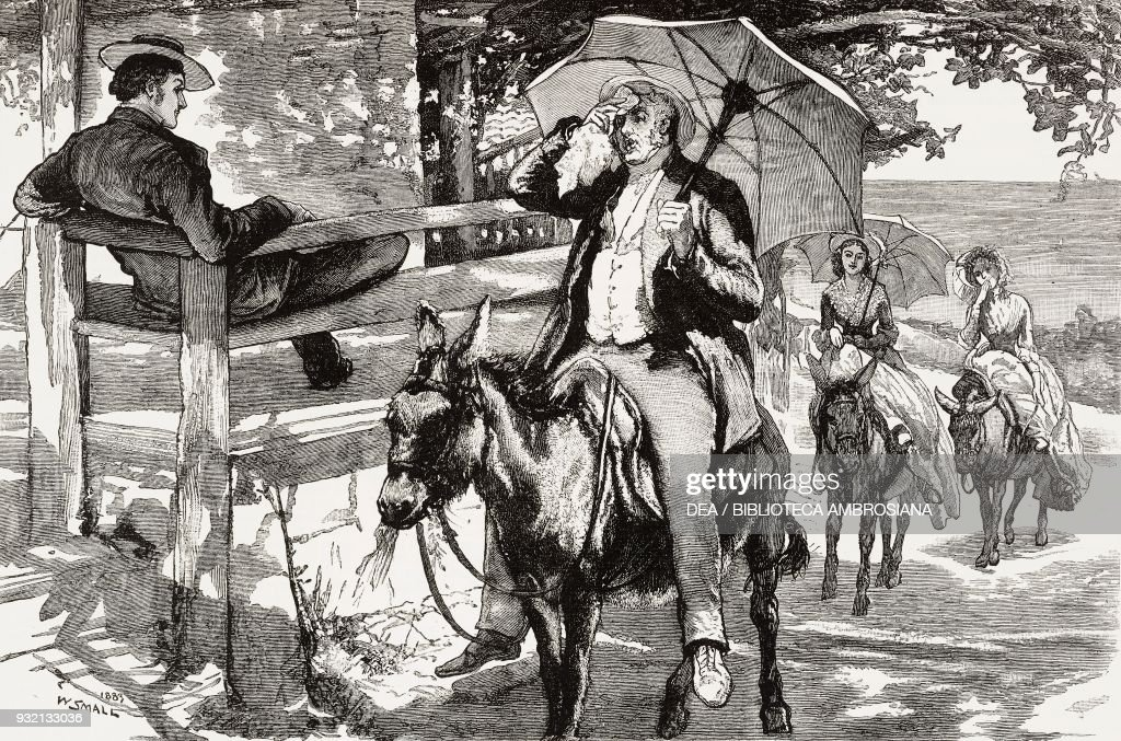 man and women on a mule pictures getty images