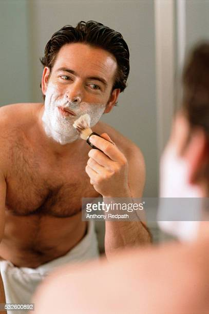Man Applying Shaving Lather to Face