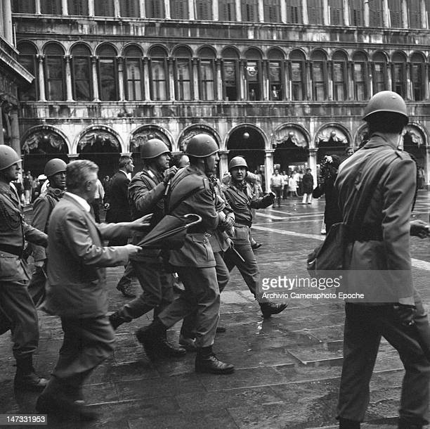 A man arrested by the police during the demonstration against the Biennale Venice 1968