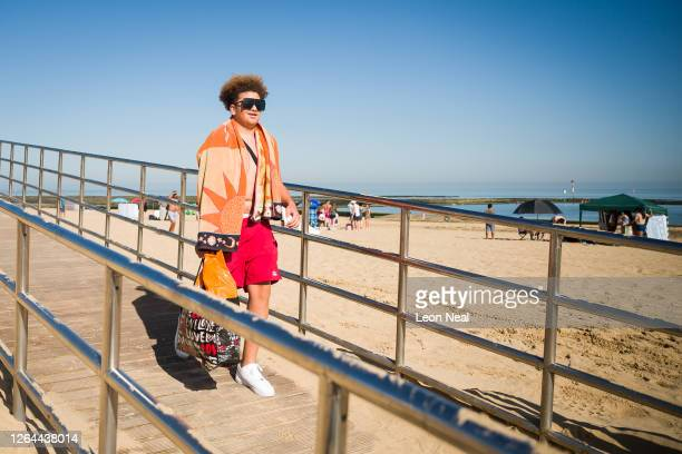 A man arrives early on Margate Beach in a bid to claim the best spot for the day on August 07 2020 in Margate United Kingdom Parts of England are...