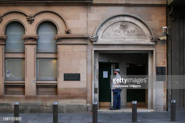 A man arrives to attend a early morning service at The Great Synagogue on October 23 2020 in Sydney Australia Religious communities across New South...