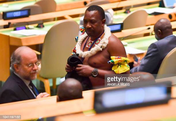 TOPSHOT A man arrives to hear King Mswati III Head of State Kingdom of Eswatini address the United Nations General Assembly in New York on its second...