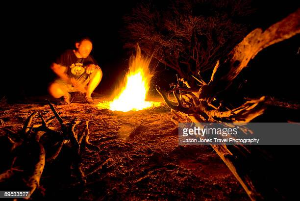 Man at a campfire in Oman