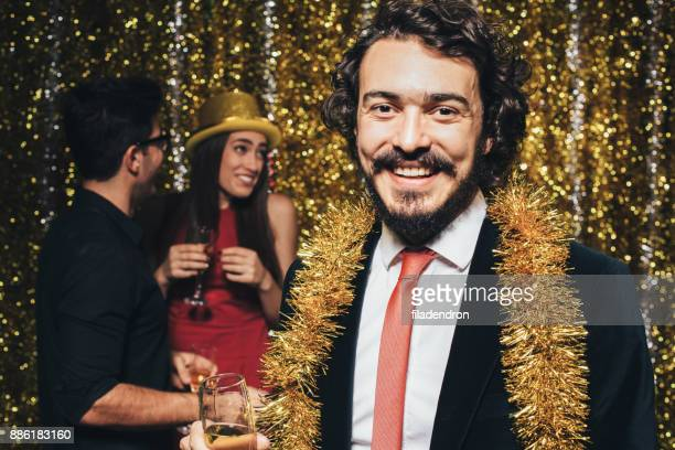 Man at a New Year's Eve party