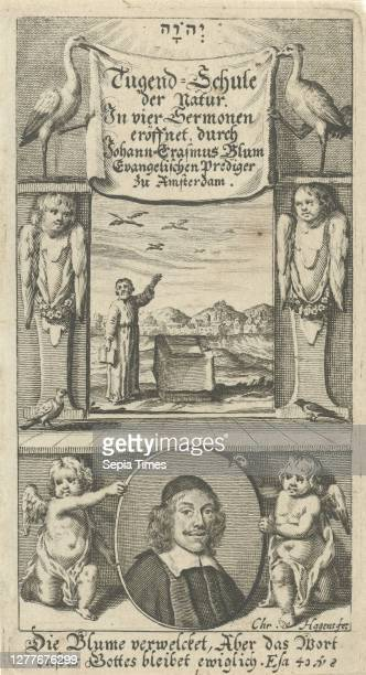 Man at an altar in a landscape Title page for: JE Blum, Tugend-schule der Natur Between two hermans with wings a look at a man at an altar in a...