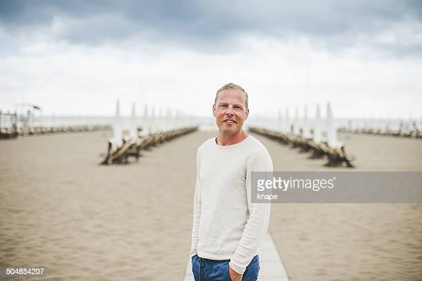 Man at beach in Italy