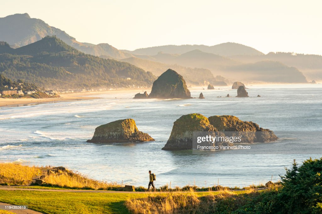 Man at Ecola State Park, Cannon Beach, Clatsop county, Oregon, USA. : Stock Photo