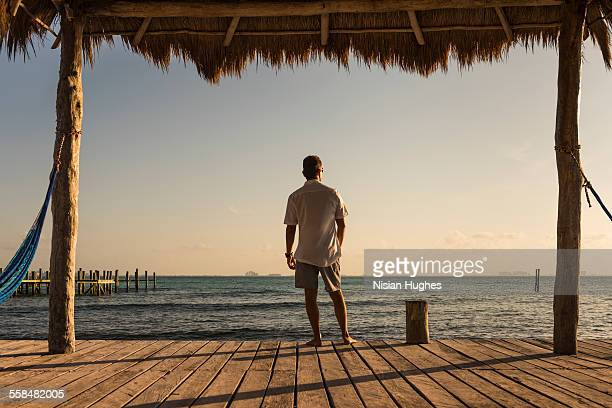 man at end of pier looking out over ocean - mujeres fotos stock-fotos und bilder