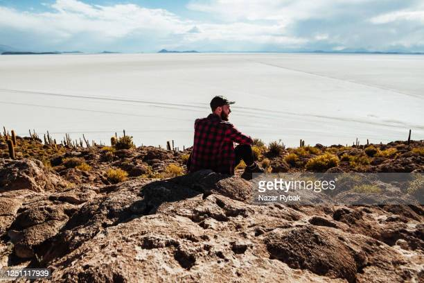 man at fish island - altiplano stock pictures, royalty-free photos & images