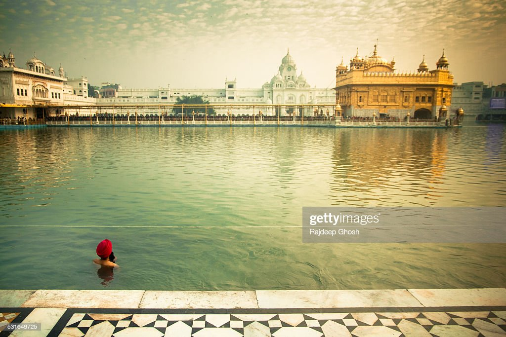 Man at Golden Temple Amritsar : Stock Photo