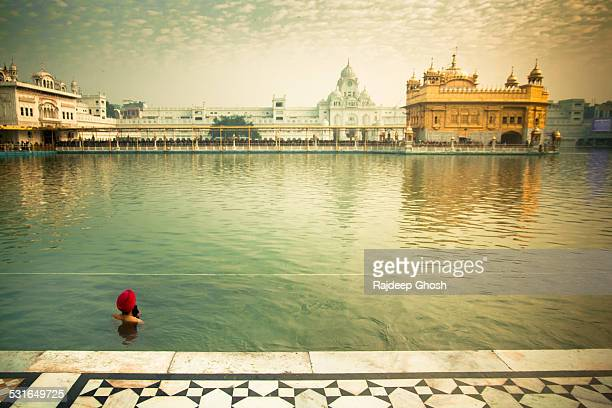 man at golden temple amritsar - golden temple india stock photos and pictures