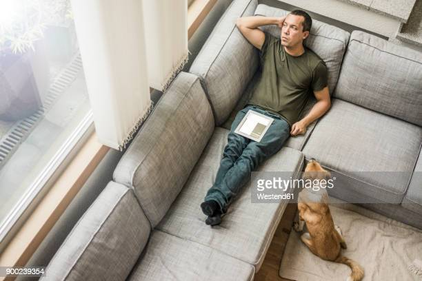 man at home with tablet on the couch with dog beside him - top foto e immagini stock