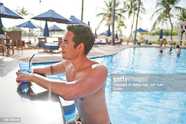 man at pool side