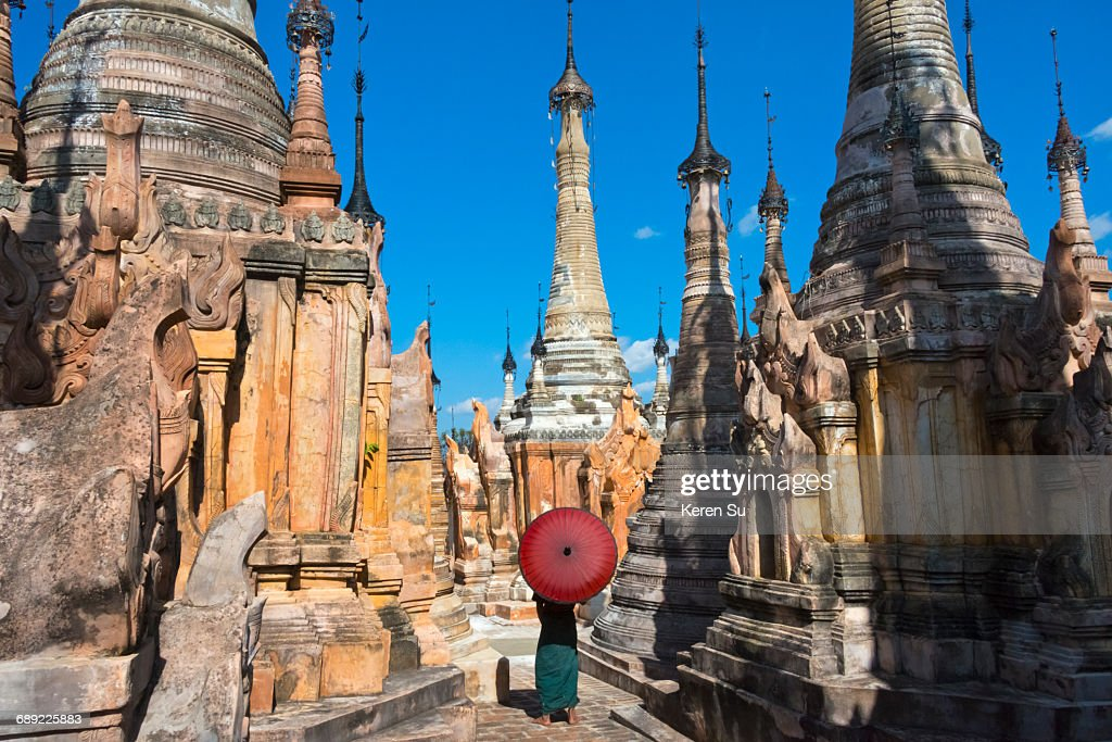 Man at Takhaung Mwetaw Pagoda Complex : Stock Photo