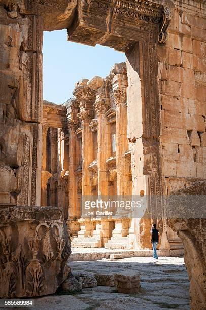 Man at Temple of Bacchus in Baalbek, Lebanon