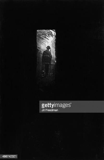 Man at the end of a dark tunnel, New York City, 1976.