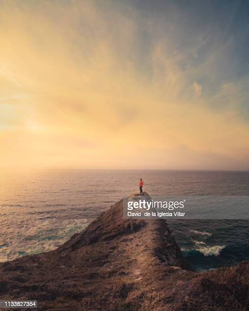 a man at the top of a cliff - david cliff stock pictures, royalty-free photos & images