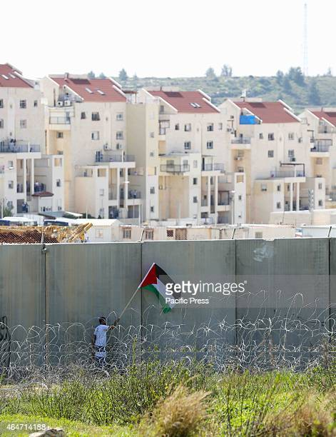 A man attempts to drape a Palestinian flag on the seperation wall that has been built by Israel in the West Bank The seperation wall in the West Bank...
