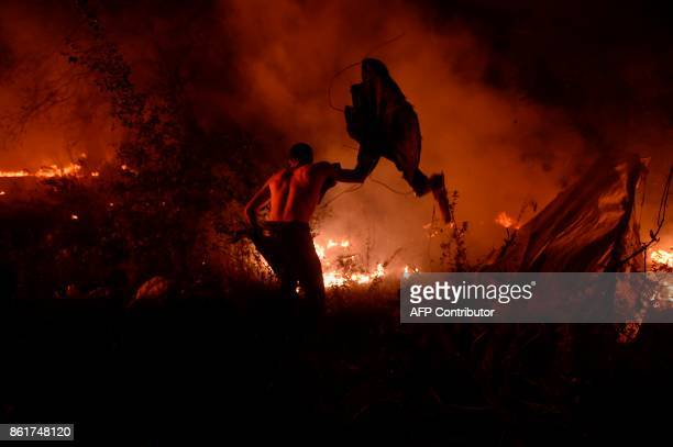 TOPSHOT A man attempts to subdue wildfire flames in Vigo northwestern Spain October 15 2017 Hundreds of firefighters struggled on October 15 2017 to...
