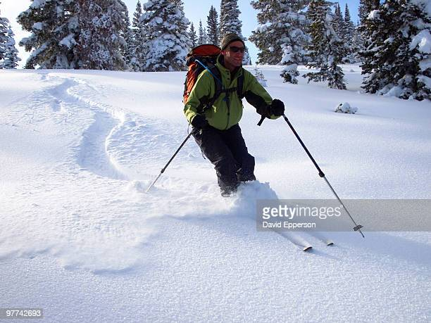 man backcountry skiing - steamboat springs colorado stock photos and pictures