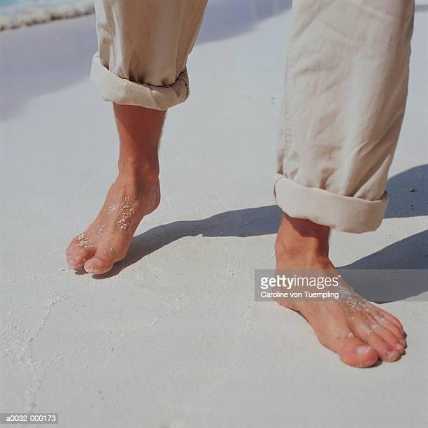 Man Barefoot at Beach