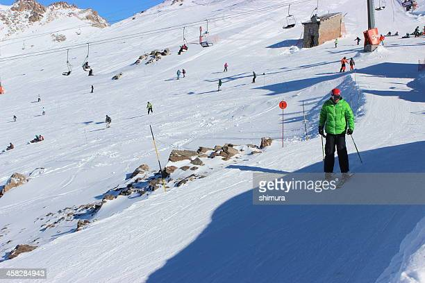 Man begin to skiing at ski station CERRO CATEDRAL