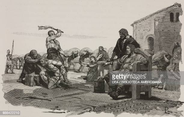A man being whipped servants' conditions in Italy during the reign of the Lombard King Clefi engraving from the Middle Ages by Francesco Bertolini...