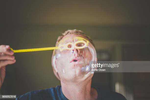 Man Blows Bubble