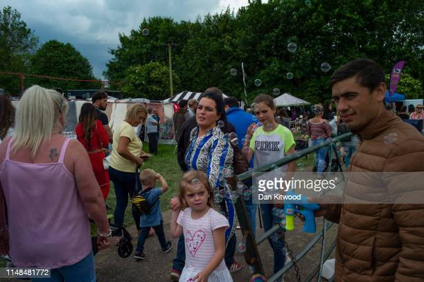 Man blows bubbles in an area with food stands during the annual Appleby Horse Fair on June 07, 2019 in Appleby-in-Westmorland, England. The annual...