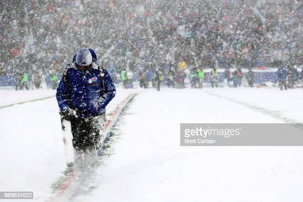 A man blows off the field during the second quarter of a game between the Buffalo Bills and Indianapolis Colts on December 10 2017 at New Era Field...